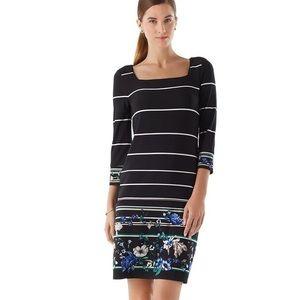 WHBM Black Floral Knit Shift Dress